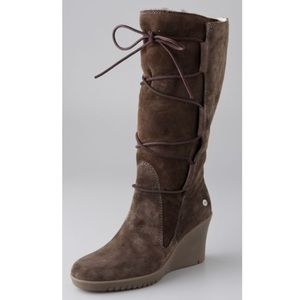 UGG Elsey Tall Espresso Suede Uggs Wedge Boots 7